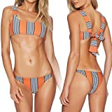 Kairuunn Damen Reizvoller 2 Stücke Bikini Gestreifter Doppelseitiger Niedriger Taillen Aufgeteilter Badeanzug