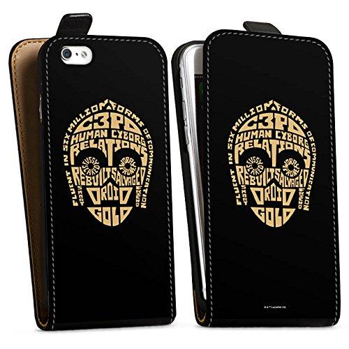 Apple iPhone X Silikon Hülle Case Schutzhülle Star Wars Merchandise Fanartikel C3PO Typo Downflip Tasche schwarz