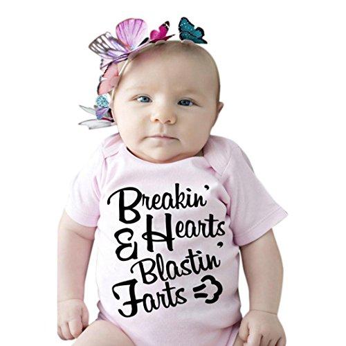 Culater® Neonato Ragazza infantile breve lettera manica bambino Stampa pagliaccetto tuta vestiti (24M)