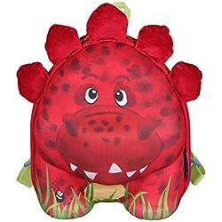 okiedog wildpack 80072 mochila para niños con motivo 3D y orejas de peluche DINOSAURIO, rojo