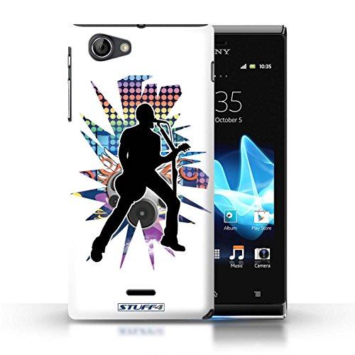Kobalt® Imprimé Etui / Coque pour Sony Xperia J (ST26i) / Elvis Blanc conception / Série Rock Star Pose Chanteur Blanc