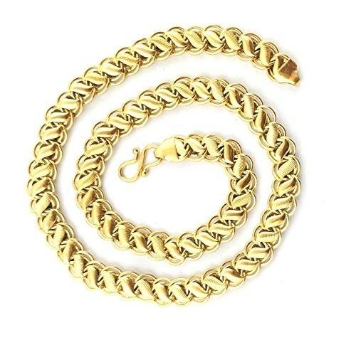 Spangel Fashion Brass 18 CT Gold And Rodium Coated Chain For Men and Boys