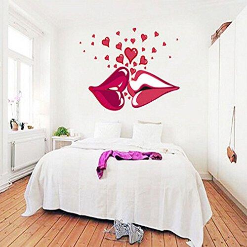 SMARTLEGEND Abnehmbare Wandsticker Wandtattoo Größe: 70cm*50cm kuss rot Lippen liebe
