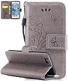 Iphone 6 Plus Case Cuir, Coque Iphone 6 Plus silicone, Iphone 6S Plus Accessoires, Coque Iphone 6S Plus silicone, Nnopbeclik Mode Wallet/Portefeuille en Bonne Qualité PU Cuir Housse (5.5 Pouce) Papillon et Fleur de Gaufrage Style Motif + Bande de Poignet Bookstyle Flip Case Intérieur en Silicone étui de Protection 'NOT FOR IPHONE 6/6S 4.7' - [Kaki]