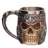 Ducomi® Conan - Boccale da Birra con Teschio Guerriero Vikingo e Manico in Metallo Decorato (400 ml)