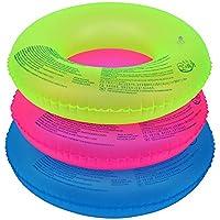ZHANGJIANJUN Verano Piscina Fluorescente Nueva Círculo Anillos inflables Espesar Piscina para Adultos de Flotación inflables para Piscina Nadar Círculo Tricolor,90cm