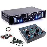 etc-shop PA Erweiterungs Anlage 2400W Bluetooth USB SD MP3 Endstufe Mixer DJ-Add-on 8