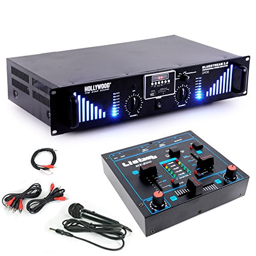 ungs Anlage 2400W Bluetooth USB SD MP3 Endstufe Mixer DJ-Add-on 8 (Disco Party Versorgt)