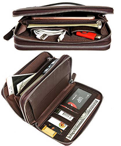 iSuperb Herren Brieftasche Geldbörse Leder Clutch Unterarmtasche Portemonnaie mit Metall Reißverschlüssen für Kartenhalter Handy 20x11.5x4.5cm (schwarz) Kaffee