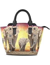 COOSUN Coucher de soleil dans l'Afrique sauvage PU Sac à bandoulière en cuir et sacs à main Porte-monnaie Sac fourre-tout pour les femmes Moyen multicolore