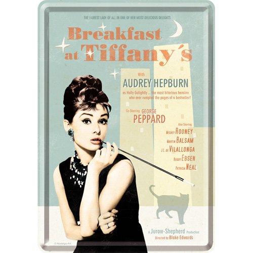 Nostalgic-Art 10208 Breakfast at Tiffany's Blue, Blechpostkarte 10x14 cm