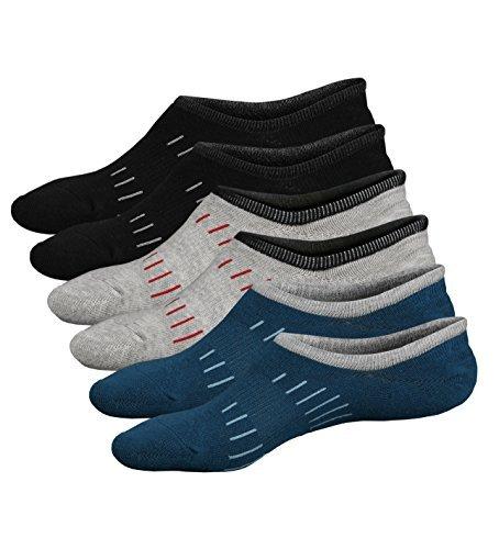 Ueither Calzini Uomo in cotone Taglio Basso Invisibili Casuale alla Caviglia Antiscivolo (Taglia di scarpe:38-44, Colore 6 (3 Coppie))
