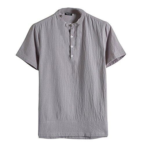OSYARD Herren Sommer Klassische Bluse mit Knopfleiste O-Ausschnitt Einfarbig Shirt Kurzarm Leinen Tops im Retro-Look