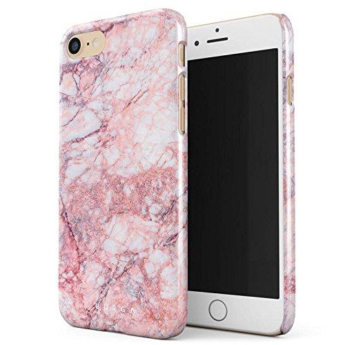 iPhone 7 / iPhone 8 Hülle Licht Koralle Pink Rosa Tropisch Marmor Tropical Marble Dünn, Robuste Rückschale aus Kunststoff Für iPhone 7 / 8 Handyhülle Schutz Case Cover (Coral Farbige Taste)