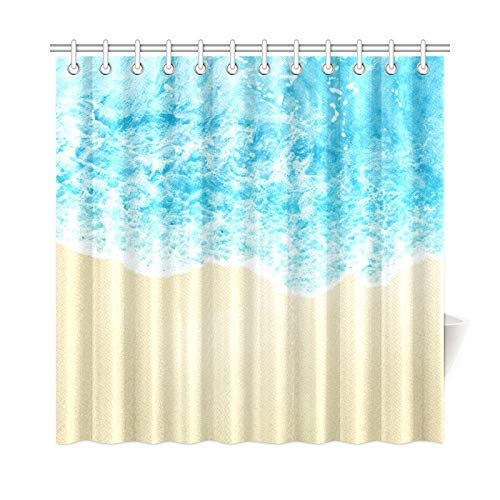 Presock Duschvorhänge, Home Decor Bath Curtain Sea Wave On Sunny Sandy Beach Polyester Fabric Waterproof Shower Curtain for Bathroom, 60 X 72 Inch Shower Curtains Hooks Included