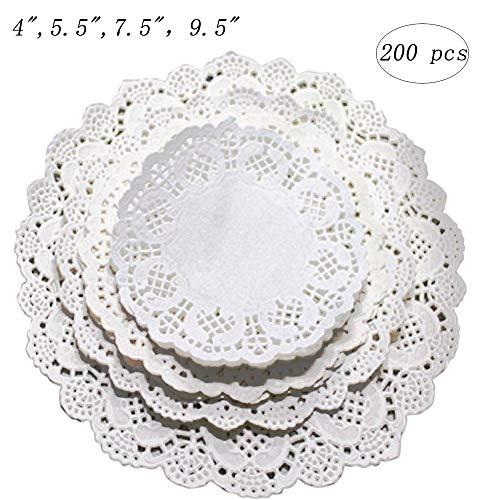 Kalolary Papier-Spitzen-Deckchen, rund, weiß, 200 Stück, 10,2 cm, Einweg-Kuchendeckchen, Untersetzer, für Teller, Basteln, Hochzeiten, Einladungen, Dekoration, 200 Stück 4 inch weiß