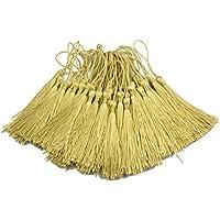 100pcs 13cm / 5 Pulgadas Seda Sedosa Marcapáginas Borlas con 2-Pulgadas Cord Loop y Pequeño Nudo Chino para la Fabricación de Joyas, Recuerdo, Marcadores, Accesorio del Arte de Bricolaje (Oro Ligero)