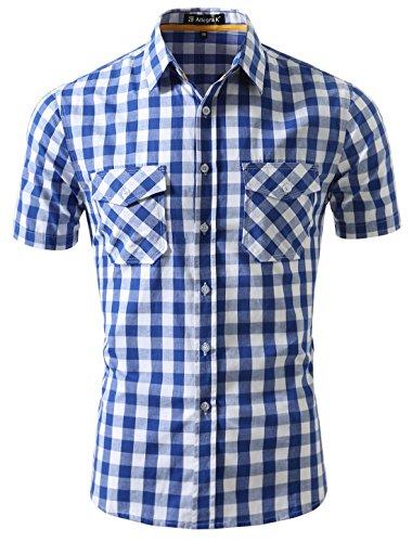 Allegra K Herren Punkt Kragen Kasten Taschen Kurzschluss Hülsen Kariert Hemd, White+Blau/XL (EU 56) - Herren Punkt-kragen-hemd