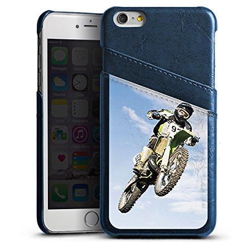 Apple iPhone 6s Lederhülle Leder Case Leder Handyhülle Motocross Motorrad Motorsport Leder Case Navyblau