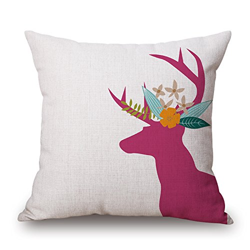 Alphadecor Deer Christmas Pillowcase 16 X 16 Inches / 40 By 40 Cm Best Choice For Sofa Pub Husband Bedroom Outdoor Drawing Room With Twin Sides