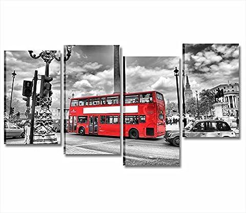 Londres Bus–Châssis Cadre moderne 152x 78cm impression sur toile ville skyline paysages métro London Street Bus rouge Underground Blanc et Noires ameublement maison bureau chambre HOTEL Pub Restaurant Wall Art fournitures Canvas