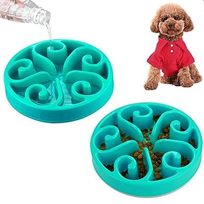 Slow Feed Dog Bowls 8 Inch, Plastic Dog Food Water 2 In 1 Bowl, Cute Dog Dish Pet Feeder Bowl 10oz Non-Skid Anti Choke… 1