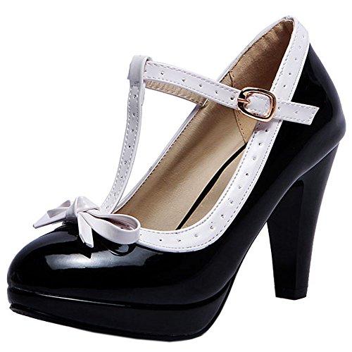 TAOFFEN Femme Elegant Bout Ferme Sandales Talon Aiguille Escarpins Ete Bride Cheville Pointure Grande Black