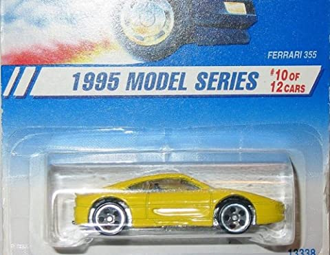 1995 -#10 Ferrari 355 Yellow #350 1:64 Scale Collectible Die Cast Car by Mattel