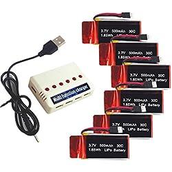 Wwman 6pcs 3.7V 500mah Baterías y 1to6 Cargador de batería para A15W U42 u42 u42w u42wh U45 u45w u45wh u48W u48hw CW4 syma x5c x5sc UFO 3000 Halo 3000 JXD UFO 398 Haktoys HAK905 Rc Quadcopter Drone Repuestos