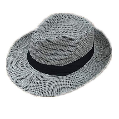 Lfives-cap Herren Stroh Fedora Hut Hut-Mann-Panama-Sommer-Strand-Sonnenhut-asiatische Band-Hut-Urlaubsreise Sommer Strand Sonnenhut (Farbe : Grau, Größe : Einheitsgröße)
