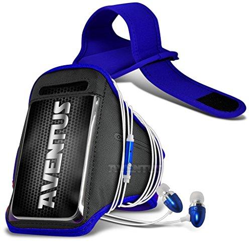 Aventus Huawei P8 Lite (2017) Custodia (Blu) Armband Completamente Regolabile Fascia da Braccia Portacellulare Leggera per la Corsa, Passeggiate, Ciclismo, Ginnastica e Altri Sport, Include in Ear Alluminio Auricolari