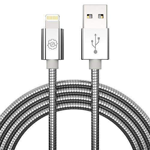 Câble Lightning iPhone,SYNLOGIC MFi Certifié Métal Durable Tressé Chargeur iPhone Câble Lightning pour iPhone XS/XR/X/8/7/7Plus/6s/6 Plus/5S/5/iPad Pro/Air/Mini/iPod(3.3FT/1M,Argent)