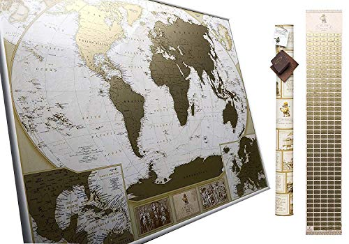 (Große Deluxe Rubbel-Weltkarte – Karte zum Rubbeln – Sie können10 000 Städte und Orte markieren)