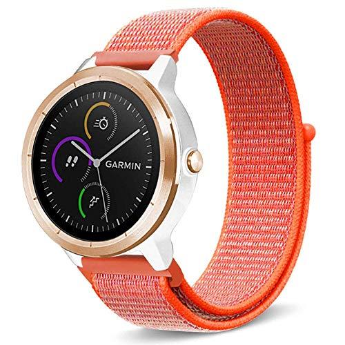 ANBEY Armband für Garmin Vivoactive 3 / Garmin Vivomove/Samsung Gear Sport/Samsung Gear S2, Premium Nylon atmungsaktive Uhrenarmband Ersatzband mit verstellbarem Verschluss Orange -