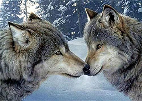 Kit pintura diamantes 5D dos lobos, 5D diamond