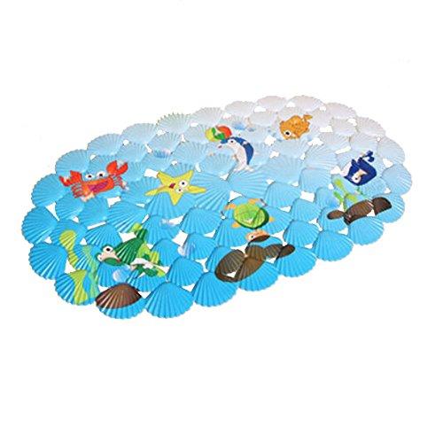 Lovely Sea World PVC Tapis de bain antidérapant avec ventouses Bleu ded26fc87b3