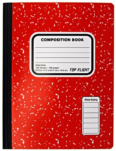 Top Flight farbigen Marmor Zusammensetzung Buch, 100Blatt, breit Rule, 24,8x 19,1cm, 1Buch, Bezug Farbe können variieren (41352)