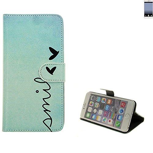 K-S-Trade® Für TP-LINK Neffos C7 Hülle Wallet Case Schutzhülle Flip Cover Tasche Bookstyle Etui Handyhülle ''Smile'' Türkis Standfunktion Kameraschutz (1Stk)