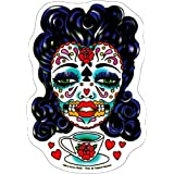 "Sunny Buick - Tea Sugar Skull Trademark Teacup autocollant Sticker - 4.5"" x 6"" - Weather Resistant, Long Lasting for Any Surface"