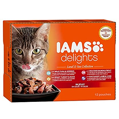 IAMS Delights Wet Food Land and Sea Collection for Adult Cats with Meat and Fish in Jelly, 12 x 85 g 1