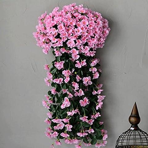 YHJ Fleurs fausses Simulation de fleur de vigne Fleur en plastique fleur de mur Hanging fleurs Salon Balcon Rampes Clôture Décoré rotin Vines ( Couleur : C