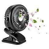 Petit Ventilateur Clip Silencieux Ventilateur de Table 3 Vitesses Réglables Electrique Ventilateur a Pile USB Rechargeable Rotation à 360° pour Poussette, Voiture, Camping, bureau,mobile,etc.