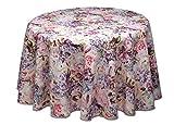 Wunderschöne runde Tischdecke, Weihnachten mit Rosen und Hortensien, ca. 160 cm, Baumwolle von Provencestoffe