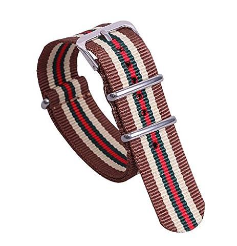 16 mm bracelets de montres marron / beige de style / vert / rouge NATO nylon à la mode à la mode pour les femmes bandes Remplacements