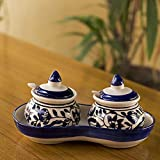 CRAFTGHAR Ceramic Pickle Jar Set, 5-Pieces, Blue