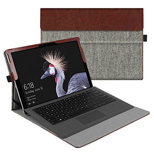 Fintie Hülle für Microsoft Surface Pro 6 (2018) / Pro 5 (2017) / Pro 4 / Pro 3 - Multi-Sichtwinkel Hochwertige Tasche Schutzhülle aus Kunstleder, Type Cover kompatibel, Denim grau