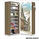 Shoe Cabinet Organizer, Mehrlagen-Kombinations-Schuhregal, Vliesspeicher-Schuhregal, 3D-Panorama-Hintergrundbild, Lagerschrank,Brown