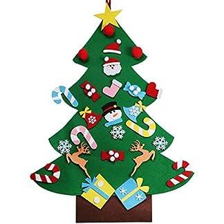 BANGBANG Árbol de Navidad de Fieltro de 91 cm + 26 Piezas de Adornos para Colgar para Navidad, Fiesta, niños, Bricolaje