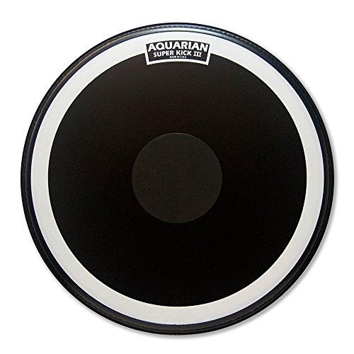 Aquarian Super Kick-III 56 cm (22 Zoll) Bass Drum Fell mit Vordämpfung und Power Dot, schwarz