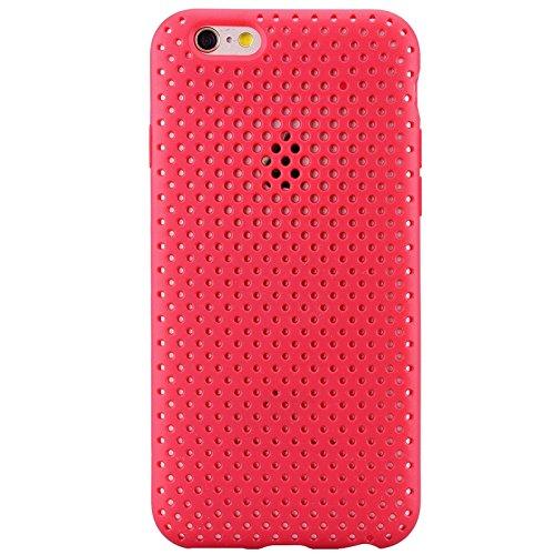 iPhone 6 / iPhone 6S UltraSlim Hülle, Yokata Tpu Weich Transparent Schutzhülle Silikon Gitter Case Rutschfest Cover - Schwarz Rot
